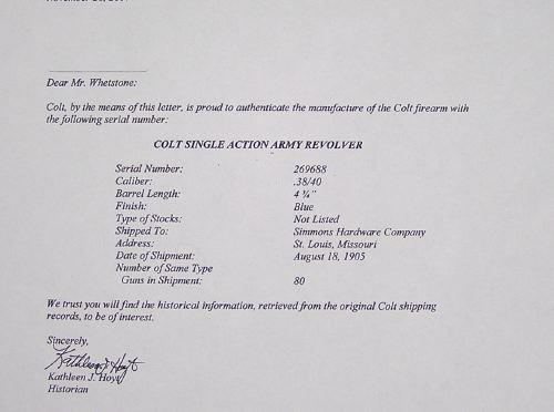 Colt S.A. Army 1st Gen. 38-40 With Colt Letter