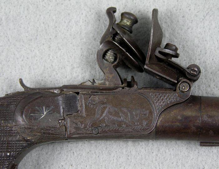 French Flintlock Muff Pistol engraved