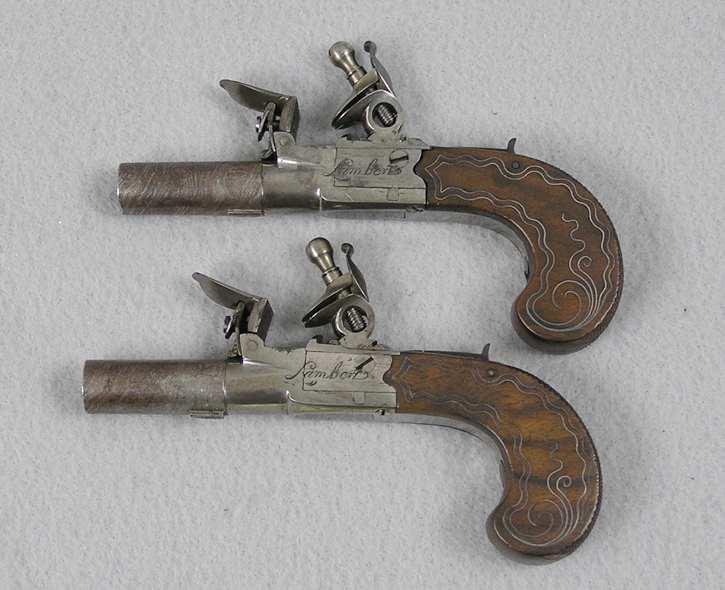 Lambert 32 Caliber French Flintlock Muff Pistols
