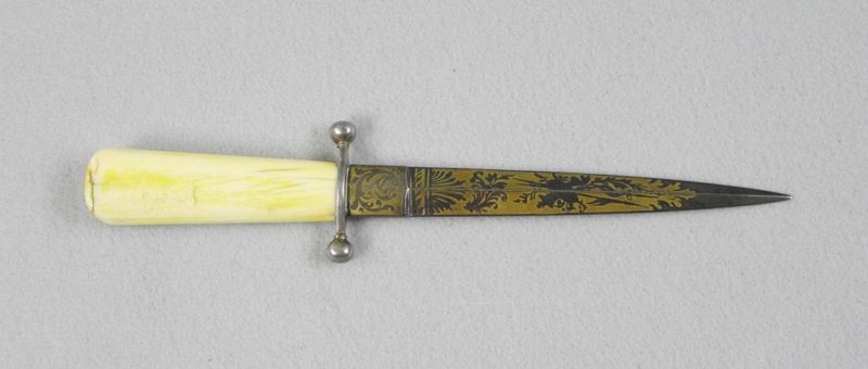 Dagger With Blue And Gold Blade