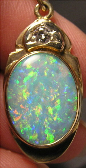 Opal and Diamond Pendent, Custom 14kt