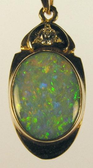 Opal and Diamond Pendent, Custom 14kt